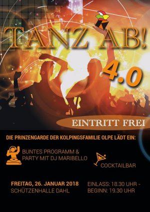 TANZ AB! 4.0 @ Dorfgemeinschaftshalle Dahl | Olpe | Germany