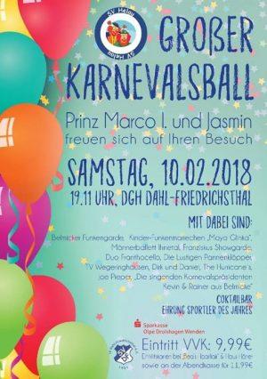 Großer Karnevalsball in Dahl-Friedrichsthal