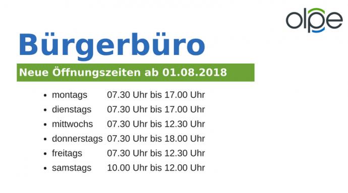 Bürgerbüro Olpe - Öffnungszeiten ab 01.08.2018