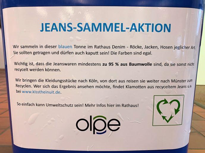 Blaue Tonne - Jeans Sammelstelle Rathaus Olpe